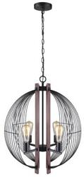 27 Black Vintage Gage Chandelier Soft Glow Wood Accents Arching Metal Rods Lamp
