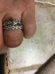 14k White Gold Over Silver Round Cut Diamond Wedding Band Ring For Womens