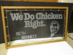 Vintage 1980's KFC Kentucky Fried Chicken Etched Glass Restaurant Window Sign