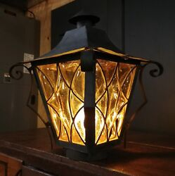 Vintage Amber Bubble Glass Pole Light - Wrought Iron Converted Gas Lamp - Murano