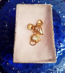 Avon Cute Little Gold Mice With Eye Glasses Pin