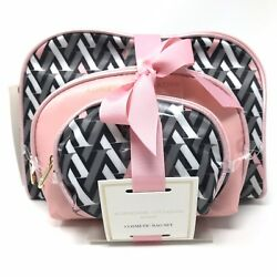 Adrienne Vittadini Cosmetic Makeup Travel Bag Set Of 3 Dome Shapped Womens Lot