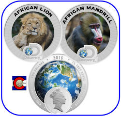 2016 Niue Discovery Channel Endangered Species African Lion And Mandrill 3oz Set