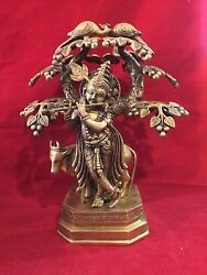 14 Antique Mor Muket Lord Krishna Playing Flute Under Tree W/cow Brass Statue
