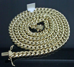 Real 10k Yellow Gold 8mm Miami Cuban Chain Box Lock 34 Inch Strong Link Gold New