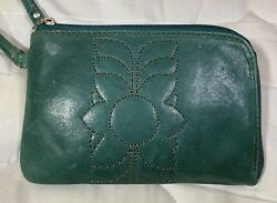 Fossil Key Per Turquoise Leather ZIP Around Clutch Wristlet Wallet NWT