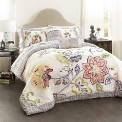 Lush Decor 5 Piece Aster Quilted Comforter Set King CoralNavy