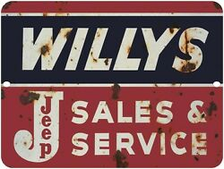 WILLYS JEEP Sales amp; Service Vintage Looking Reproduction 9quot; x 12quot; Aluminum Sign