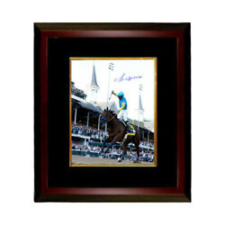 American Pharoah Victor Espinoza Signed 16x20 Photo Framed 2015 Ky Derby-steiner