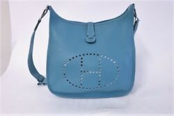 Hermes Evelyne III 33 Hobo Bag Blue Jean Leather Crossbody Messenger Bag