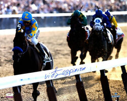 American Pharoah Victor Espinoza Signed 16x20 Photo 15 Belmont Stakes Stretch