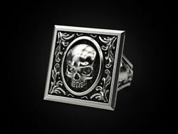 Tales From The Crypt Skull Men's Biker Punk Oxidized 925 In Sterling Silver Ring