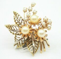 Ladies Vintage 18k Yellow Gold Flowers Leafs With Pearls Pin Brooch. 34mm Wide