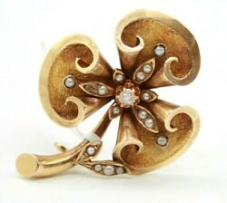 Vintage Antique 18k Yellow Gold Diamond Seed Pearls Flower Pin Brooch 37mm-30mm