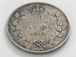 1919 Canada Ten 10 Cent Silver Dime Circulated Canadian George V Coin I509