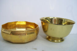 Set Of 2 International Solid Brass And Gold Plated Decorative Bowls Trinket Coins