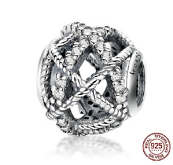 100% 925 Sterling Silver Silvery Galaxy With CZ Beads Charm pandora