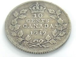 1919 Canada Ten 10 Cent Silver Dime Circulated Canadian George V Coin I517