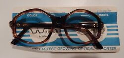 Vintage Welling Sunrise Amber 5019 Ladies Jeweled Eyeglass Frame NOS #302