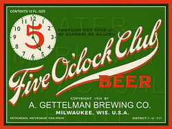 24x18 Reproduced Gettelman Brewing Co Label Five O'clock Club Beer On Canvas