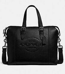 New Coach F30620 Men's Hudson Brief Leather Messenger Bag Crossbody Bag Black
