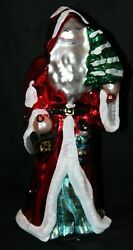 Midwest Of Cannon Falls Blown Glass Shiny Santa Holding A Christmas Tree
