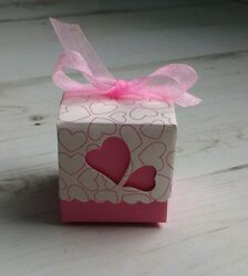 20 boxes containing favours marriage baptism pink heart white new