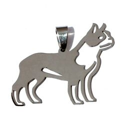 Stainless Steel Boston Bull Terrier Boxwood Pet Dog Charm Pendant Chain Necklace