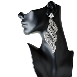 Drag Queen Huge Crystal Chandelier Earrings Stage Pageant Bridal Costume Jewelry
