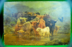William Watson Jr 1883 Highland Cattle Watering w Herder&Dogs  Signed + Dated!