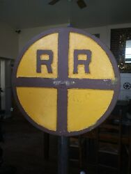 Vintage Cast Iron Rr Round Street Railroad Track Crossing Sign On Post