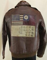US Army Air Force A-2 Leather Flight Jacket 1940 Rough Wear Clothing Size 40 Y89