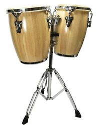 Natural Conga Drum Set - 9 And 10 Inch Heads + Stand
