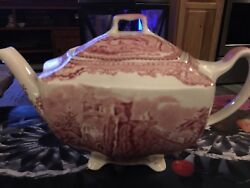 Johnson Bros Brothers China Pink Old Britain Castles Teapot Made In England