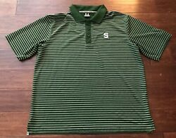 Under Armour Mens Michigan State Spartans Green White Stripped Polo Shirt Sz Xl