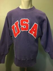 Vtg 60s 70s Blue Champion Sweatshirt One Color Tag Mens M USA Reverse Weave Red