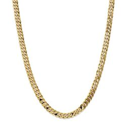 14k Yellow Gold 7.25mm Solid Beveled Curb Link Chain W/ Lobster Clasp 18 - 28