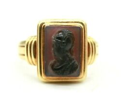 14k Yellow Gold Victorian Antique Roman Warrior Carved Carnelian Ring.size 10