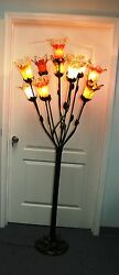 HAND MADE  WROUGHT IRON FLOOR LAMP &11  MULTI-COLOR GLASS SHADES  #5
