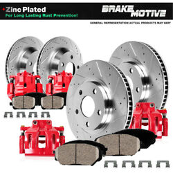 Front + Rear Red Brake Calipers And Rotors + Ceramic Pads For 2009 - 2017 Maxima