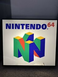 Nintendo 64 Light Up Store Display Game Room Lamp 21x24 Working Condition C Pics