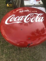 Vintage Authentic Early 1950's CocaCola  Grocery Hanging Double Sided sign.