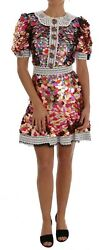 NEW $11500 DOLCE & GABBANA Dress Lace-Trimmed Sequined Crepe Mini T38 US4  XS