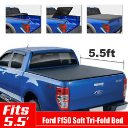 Soft Tri-Fold Tonneau Cover For 2014-2018 Ford F-150 5.5'Short Bed Assemble
