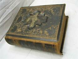 Early Pictorial Leather Bound Singiser Family Parallel Bible 1890 Mechanicsburg