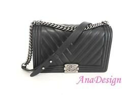 Chanel Le Boy Chevron Black Lambskin Crossbody Messenger Bag wCert Authenticity
