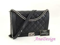 Chanel Large Black Calfskin Crossbody Messenger Boy Bag RHW wAuthenticity Cert