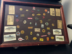 Old Vtg Collectible Display Case With 44 Tobacco Tags And 9 Cigarette Cards