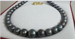 Huge 1813-16mm Natur South Sea Genuine Black Gray Peacock Round Pearl Necklace