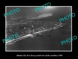 Old Large Historic Photo Of Atlantic City New Jersey Aerial Of Coastline 1940 1